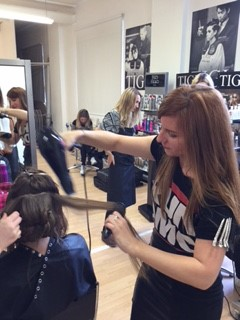 Molbys Hair stylists working hard preparing models at a hair awards show